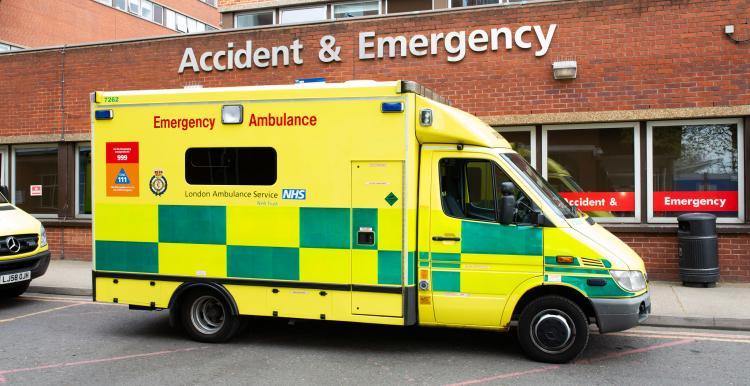 Ambulance outside an A&E