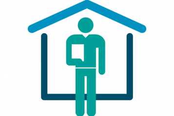 Healthwatch graphic, person in front of a house