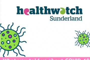 Healthwatch Sunderland report cover - Healthwatch graphic of virus