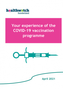 Healthwatch Sunderland report cover - Healthwatch graphic of a needle